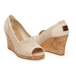 TOMS Woven Diamond Cork Peep Toe Wedge Heels 6.5